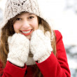 Young woman in winter clothing — Stok fotoğraf