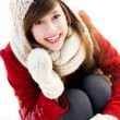 Young woman outdoors in winter — Stok fotoğraf