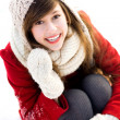 Young woman outdoors in winter — Stockfoto