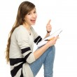 Female student with thumbs up — Stockfoto #27517749