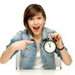 Young woman with clock — Stock Photo