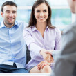 Couple meeting with financial adviser — Stock Photo
