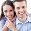 Couple hugging in new apartment — Stock Photo