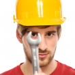 İnşaat işçisi holding İngiliz anahtarı — Stok fotoğraf #27693457