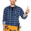 Handyman with thumbs up — Foto de Stock