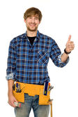 Handyman with thumbs up — Stock Photo