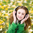 Girl listening music outdoors — Stock Photo #27706029