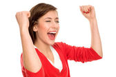 Excited woman with arms raised — Stock Photo