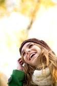 Young woman in woolen hat — Stock Photo