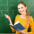 Female Student Doing Math on Chalkboard — Stock Photo #27714243