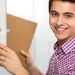 Student by school lockers — Stock Photo