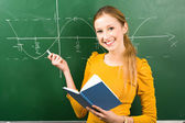 Female Student Doing Math on Chalkboard — Stock Photo