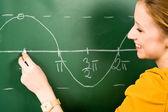 Female Student Doing Math on Chalkboard — Stock Photo