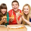 图库照片: Three Friends Eating Pizza