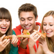 Stock Photo: Three Friends Eating Pizza