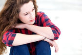 Young woman looking thoughtful — Stock Photo