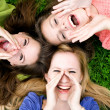 Three young women shouting — Stock Photo