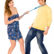 Woman and man conflict — Stock Photo
