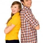 lyckliga par stå rygg mot rygg — Stockfoto