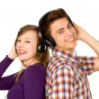 Couple in headphones — Stock Photo