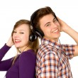 Stock Photo: Couple in headphones