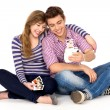 Stock Photo: Young couple with instant camera