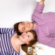 Young couple with instant camera — Stock Photo #27882567