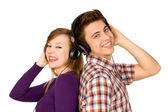 Couple in headphones — Stock Photo