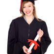 Woman in graduation robes holding a diploma — Stock Photo #27895927