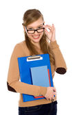 Female student wearing glasses — Stock Photo