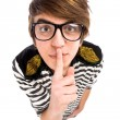 Boy Making Silence Gesture — Stockfoto