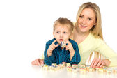 Mother and Son Playing with Blocks — Stock Photo