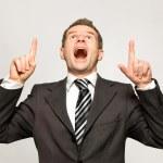 affärsman som pekar uppåt — Stockfoto