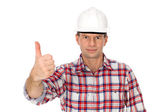 Workman showing thumbs up — Stock Photo