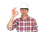 Construction worker making OK sign — Stock Photo