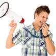Man Shouting Through Megaphone — Stock Photo