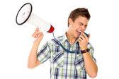 Man Shouting Through Megaphone — Stock Photo