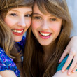 Foto Stock: Two friends hugging