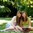 Girls studying outdoors — Stock Photo