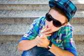 Teenager Lighting A Cigarette — Stock Photo