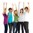 Friends with arms raised — Stock Photo