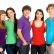 Five young friends standing together — Foto Stock