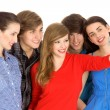 Five young friends standing together — Stock Photo #28075453