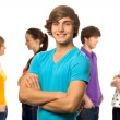 Young man with friends — Stock Photo
