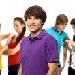 Stock Photo: Young man with friends