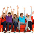 Stock Photo: Group of excited friends