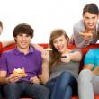 Friends watching TV — Stock Photo