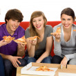 Friends Eating Pizza — Stock Photo