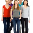 Five young friends standing together — Stock Photo