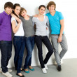 Five young friends standing together — Stock Photo #28076785